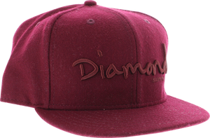 "DIAMOND OG SCRIPT HAT 7-3/4"" BURGUNDY/BURGUNDY"