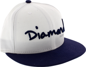 "DIAMOND OG SCRIPT HAT 7-3/8"" WHT/NAVY newera"