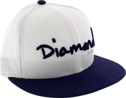 "DIAMOND OG SCRIPT HAT 7-3/4"" WHT/NAVY newera"