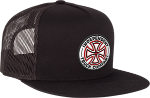 INDEPENDENT RED/WHITE CROSS MESH TRUCKER HAT ADJ-BLACK