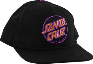 SANTA CRUZ OTHER DOT SNAPBACK HAT ADJ-BLK W/PINK/PURPLE