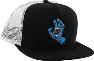 SANTA CRUZ SCREAMING HAND MESH HAT ADJ-BLK/WHT