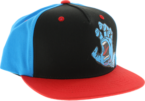 SANTA CRUZ SCREAMING HAND HAT YOUTH ADJ-BLK/BLUE/RED