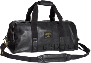 GRIZZLY LEATHER MILITARY DUFFLE BAG BLK/BLK