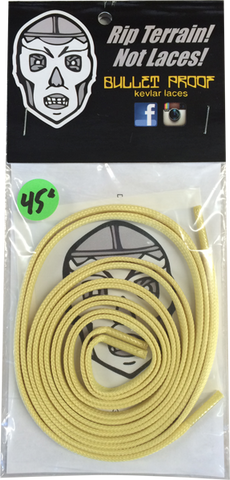"BULLETPROOF KEVLAR SHOE LACES 45"" GOLD single set"