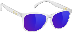 GLASSY SUNHATERS DERIC CLEAR/BLU MIRROR SUNGLASSES