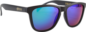 GLASSY SUNHATERS DERIC MATTE BLACK/GRN MIRROR SUNGLASSES