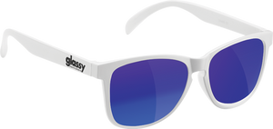 GLASSY SUNHATERS DERIC WHT/BLUE MIRROR SUNGLASSES