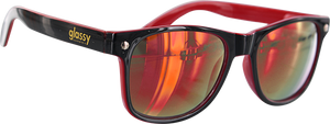 GLASSY SUNHATERS LEONARD BLK/BLK/RED MIRROR SUNGLASSES