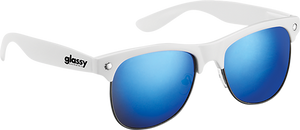 GLASSY SUNHATERS SHREDDER WHT/BLU MIRROR SUNGLASSES