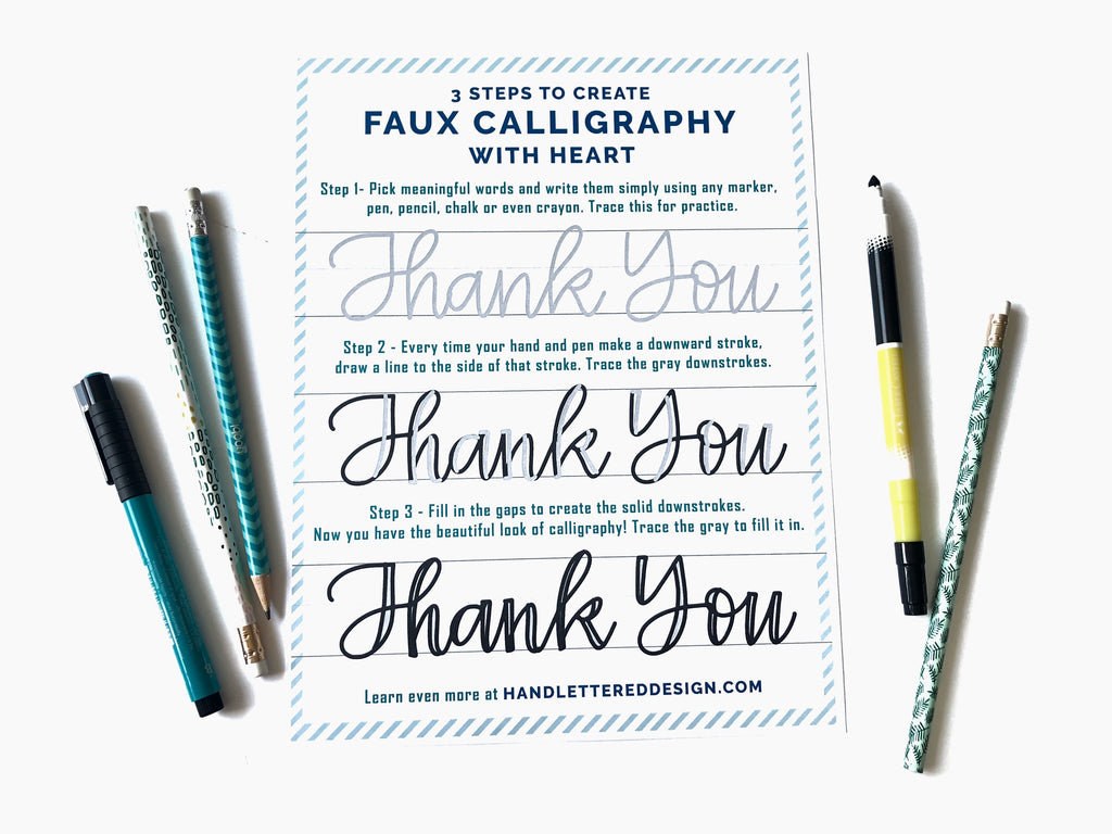 3 Steps to Faux Calligraphy with Heart Worksheet
