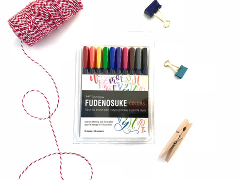 Fudenosuke Brush Pen Color Set - Pack of 10