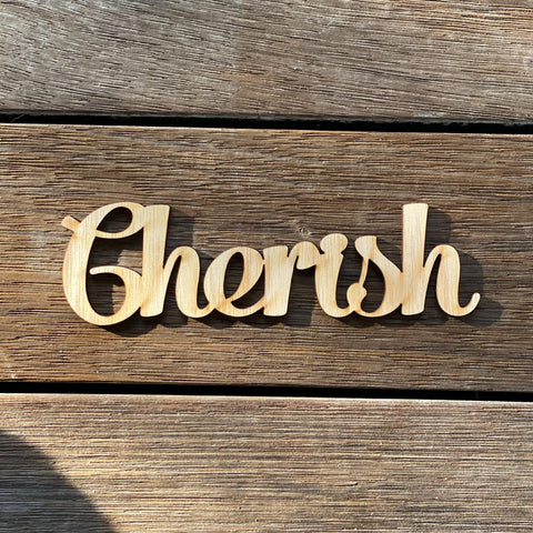 Plywood word - Cherish