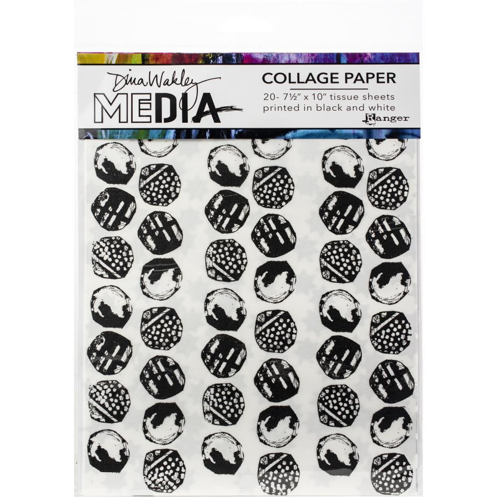 "Dina Wakley Media Collage Tissue Paper 7.5""X10"" 20/Pkg Backgrounds"