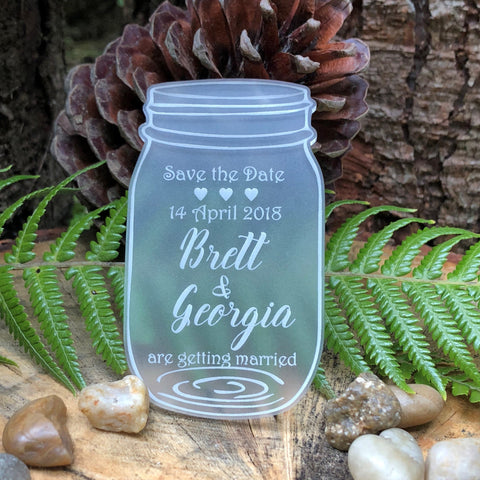 Acrylic Mason Jar Save the Date