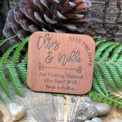 Wooden Square Save the Date