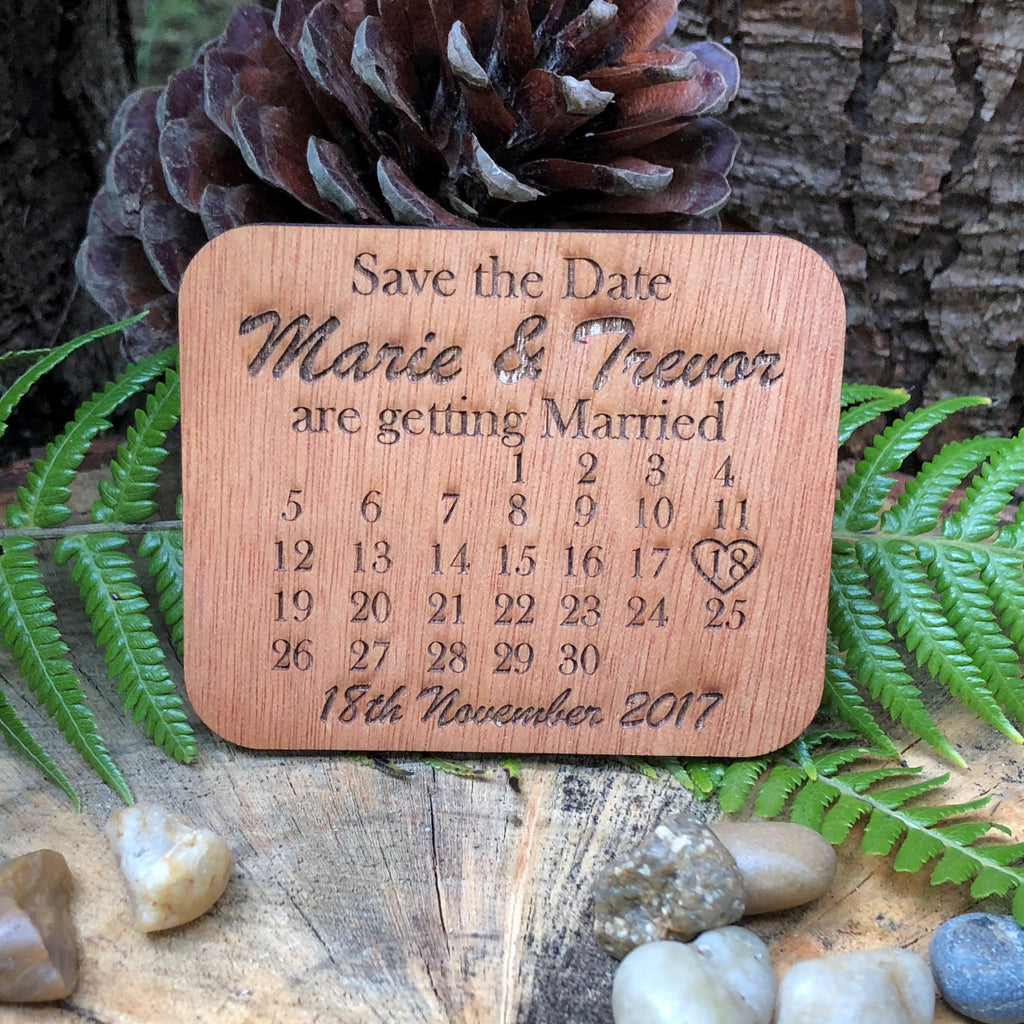 Wooden Rectangle Save the Date