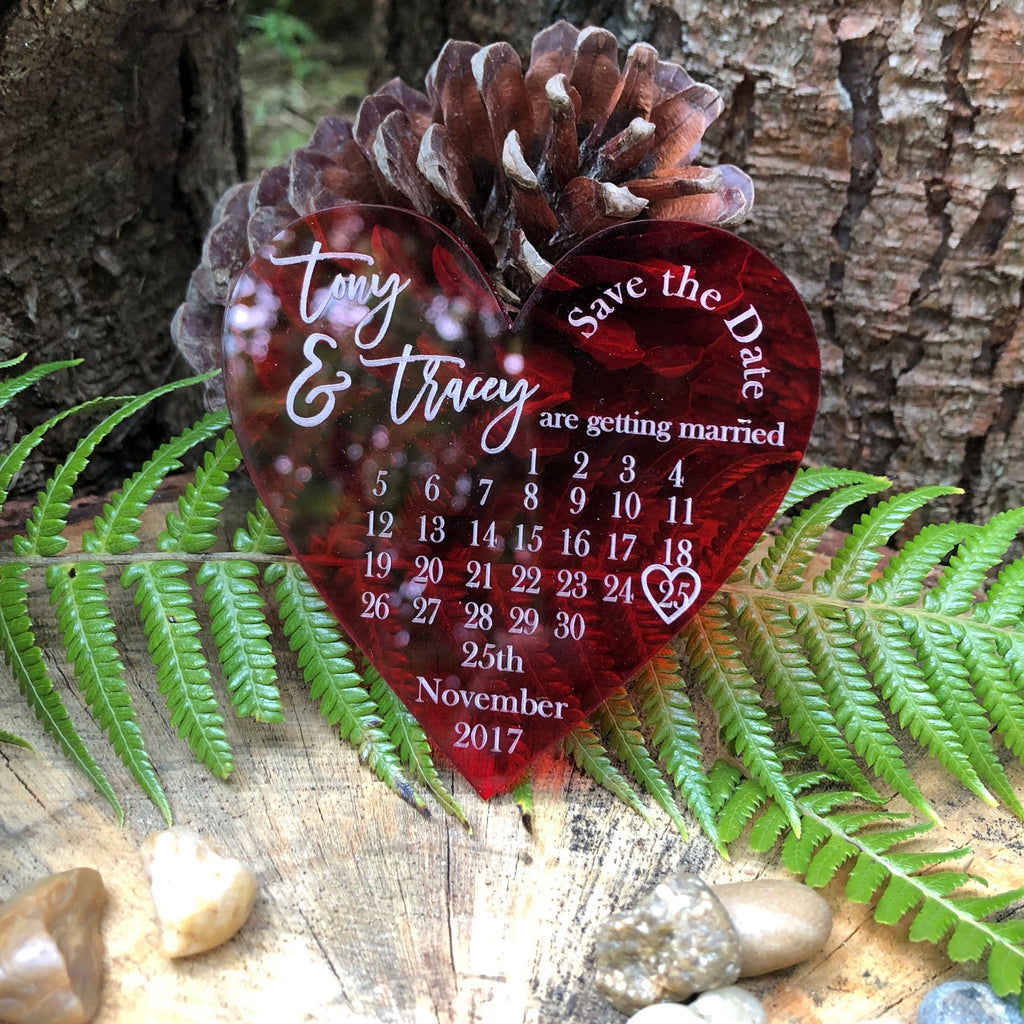 Acrylic Heart Save the Date