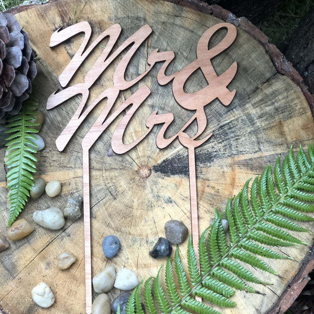 Plywood Script Mr & Mrs Cake Topper