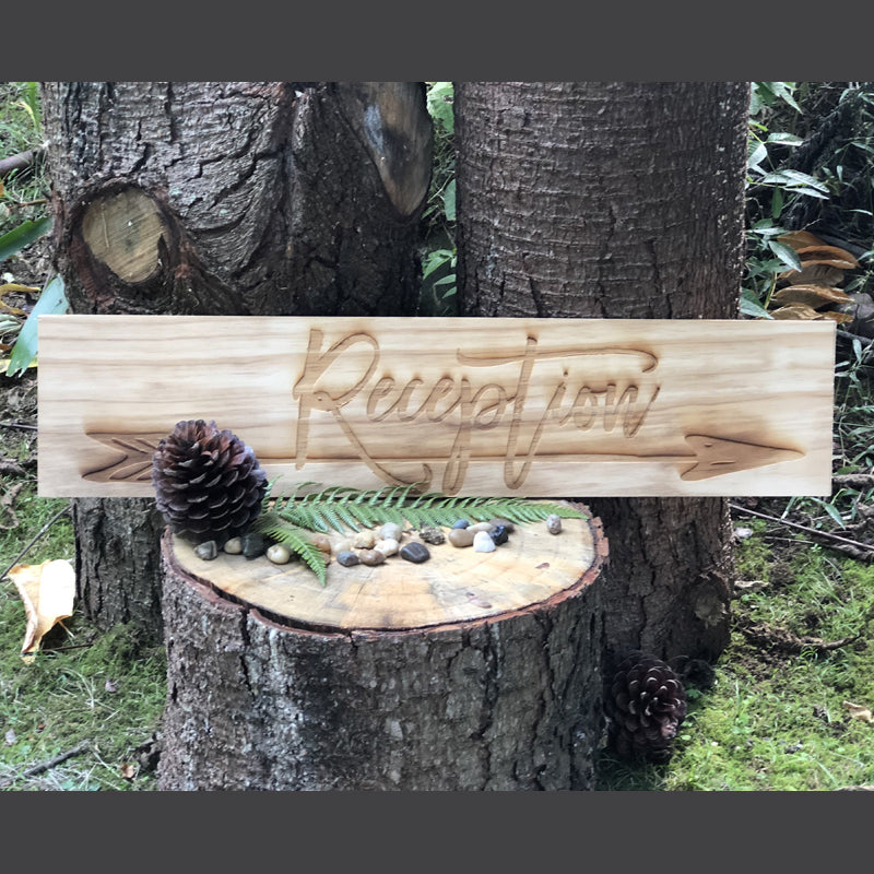 Reception Sign -Engraved Arrow