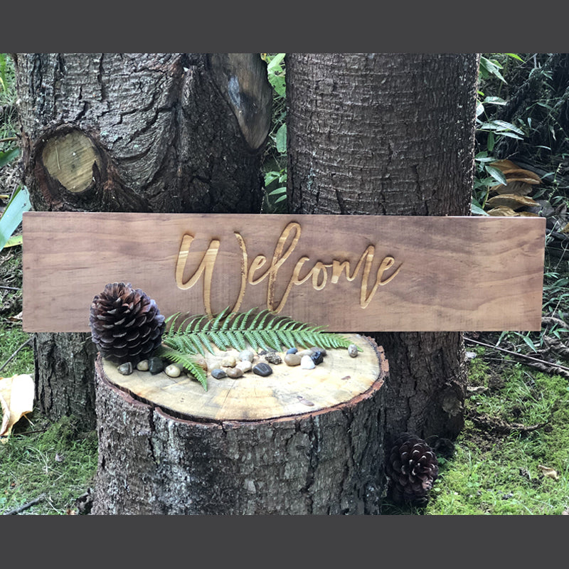 Welcome Stained Wood Sign