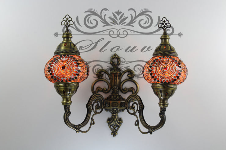 Turkish Mosaic Double Wall Sconce, With Medium Globes, Upward - TurkishLights.NET