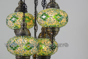 5 - BALL SULTAN TURKISH MOSAIC CHANDELIER WITH MEDIUM GLOBES - TurkishLights.NET