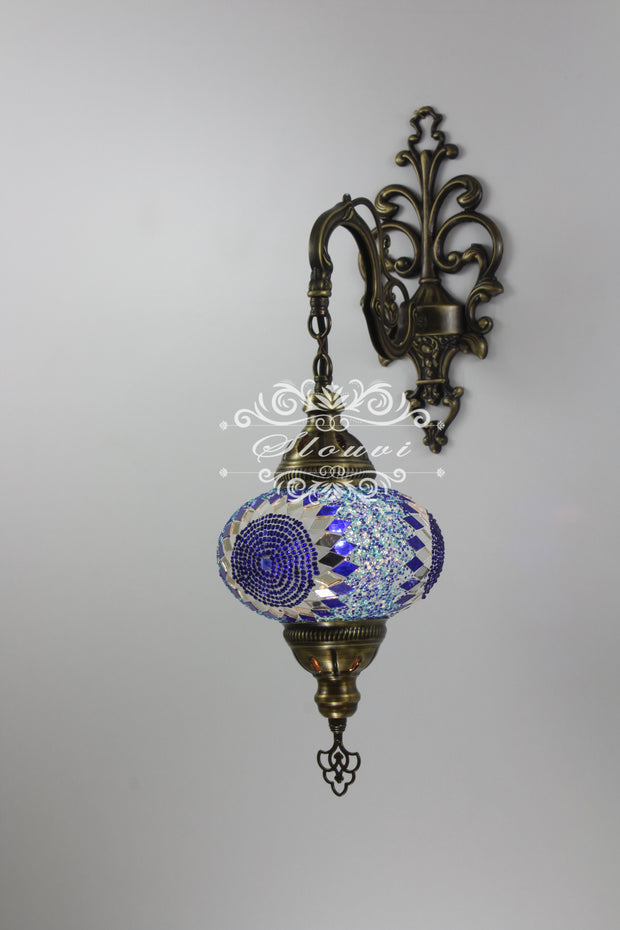 Turkish Mosaic  Wall Sconce, With Large Globes - TurkishLights.NET