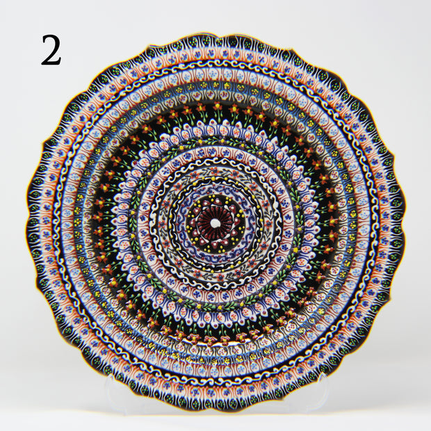 "HAND MADE TURKISH CERAMIC PLATE, 30 cm(11.8"") P02 - TurkishLights.NET"