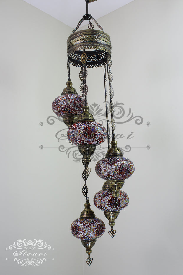 5 BALL TURKISH MOSAIC CHANDELIER, WITH LARGE GLOBES - TurkishLights.NET