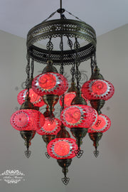 9-BALL TURKISH SULTAN MOSAIC CHANDELIER WITH NO3 (LARGE) GLOBES - TurkishLights.NET