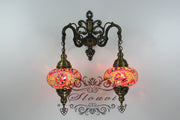 Turkish Mosaic Double Wall Sconce, With Large Globes - TurkishLights.NET