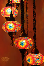 7  BALL TURKISH MOSAIC FLOOR LAMP, LAMBADER, LARGE GLOBES - TurkishLights.NET