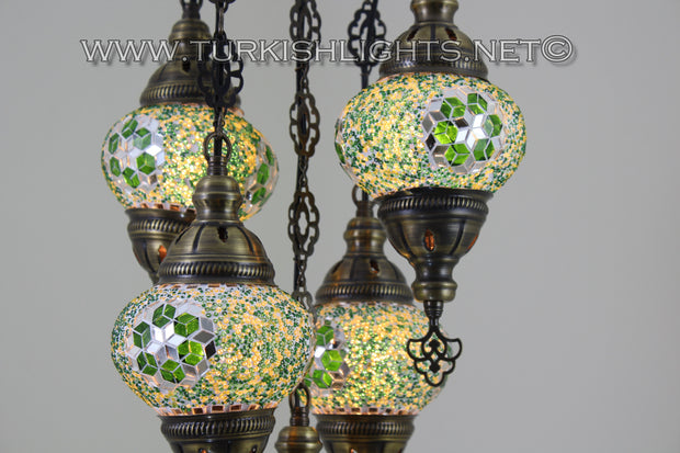 5-BALL SULTAN MOSAIC CHANDELIER (MEDIUM GLOBES) - TurkishLights.NET