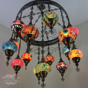 15-BALL TURKISH SULTAN MOSAIC CHANDELIER, MEDUM GLOBES - TurkishLights.NET