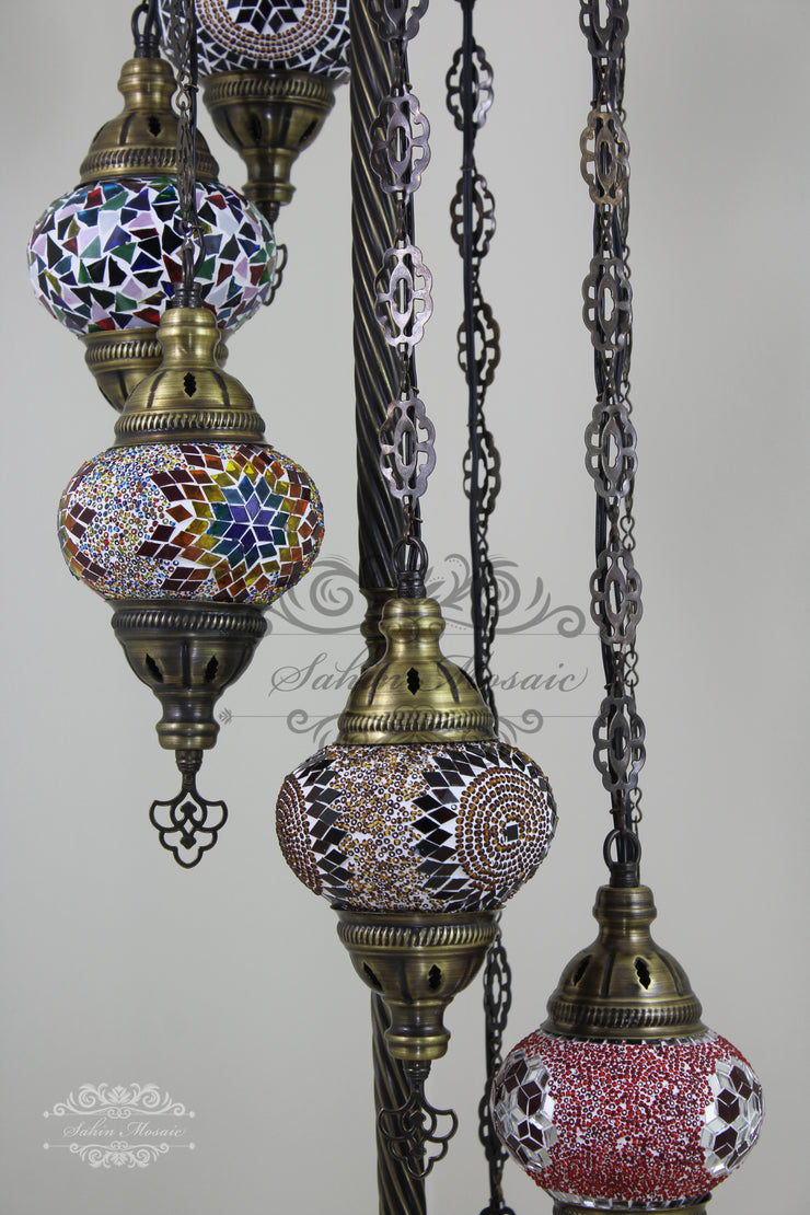 7 BALL TURKISH MOSAIC FLOOR LAMP, LAMBADER, MEDIUM GLOBES - TurkishLights.NET