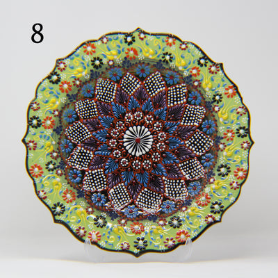 "HAND MADE TURKISH CERAMIC PLATE, 30 cm(11.8"") no8 - TurkishLights.NET"
