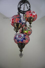 5-BALL SULTAN MOSAIC CHANDELIER (LARGE GLOBES) - TurkishLights.NET