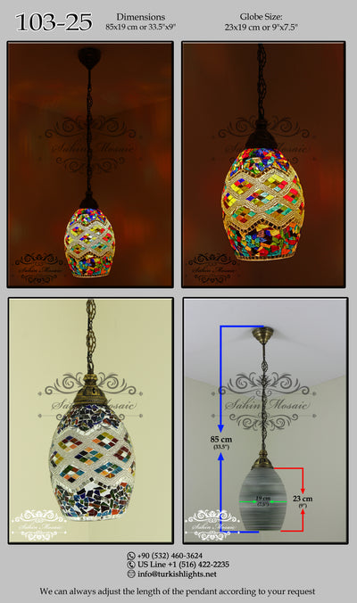Turkish Handmade Mosaic Hanging Pendant - Kitchen Island Pendant 103-25 - TurkishLights.NET