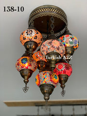 7 - BALL SULTAN  CHANDELIER (Medium globe) , Short Chandelier Flush Against the ceiling - TurkishLights.NET
