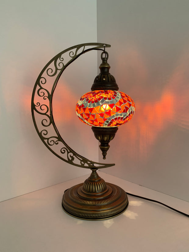 Melidia  Crescent Shape Mosaic  Table Lamp with Large Globe