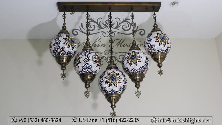 Kitchen Island Pendant With 5 (20 cm ) Globes, ID: 111 - TurkishLights.NET