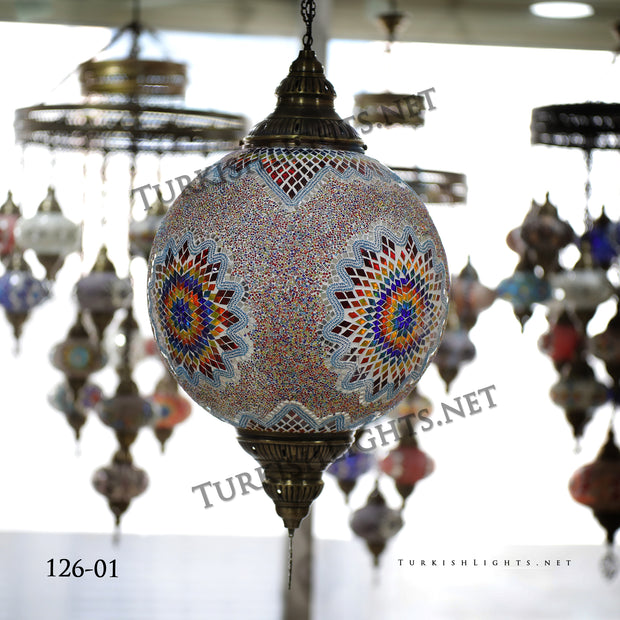 "Hanging Lamp with 20"" Globe - TurkishLights.NET"