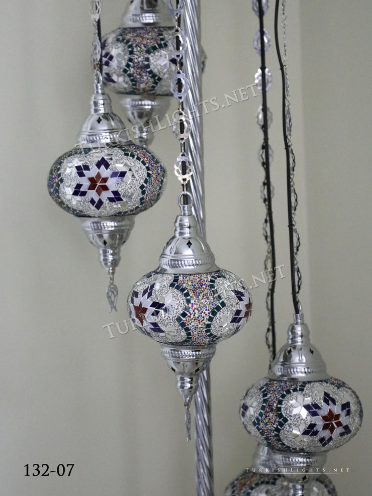 FLOOR LAMP WITH  5 LARGE GLOBES and CHROME FINISH ,ID:132 - TurkishLights.NET