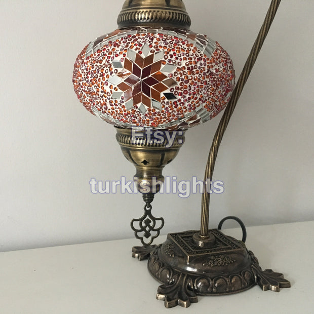 SWAN NECK MOSAIC TABLE LAMP, LARGE GLOBE - TurkishLights.NET