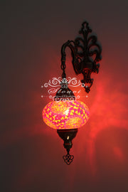 Turkish Mosaic  Wall Sconce, With Large Globe - TurkishLights.NET
