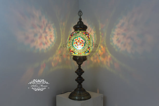 "MOSAIC FLOOR / TABLE LAMP WITH 30CM (12"") GLOBE - TurkishLights.NET"
