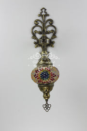 Turkish Mosaic  Wall Sconce, With Medium Globe - TurkishLights.NET