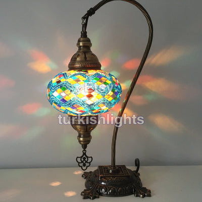 SWAN NECK MOSAIC TABLE LAMP, LARGE GLOBE, SPECIAL EDITION - TurkishLights.NET