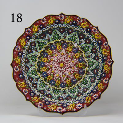 "HAND MADE TURKISH CERAMIC PLATE, 30 cm(11.8"") no18 - TurkishLights.NET"